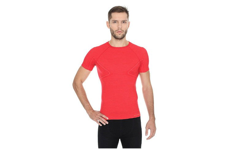 98a0c5eb937e41 Brubeck Active Wool SS11710 krótka czerwona - Sklep Natural Born Runners